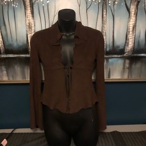 Bebe Suede Brown Cardigan Cover Up Size XS